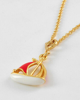 Nautical Red White Gold Enamel SAILBOAT Boat Charm  Necklace NWT New