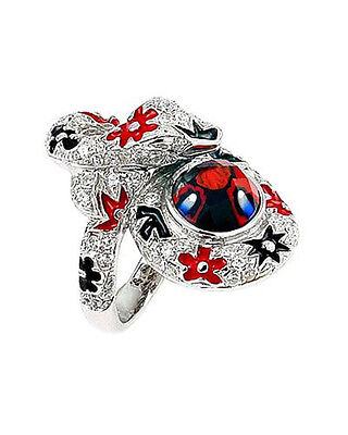 ALAN K Collection Ring W/ CZ Multicolor Enamel & Murano Glass in Sterling Silver