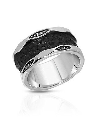 CURRENCY Men's Ring With Genuine Clean Diamond in 925 Sterling silver Size 9