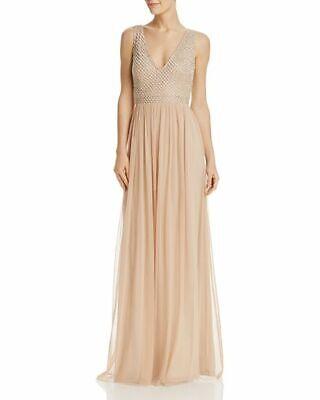 f228eae08db62 NEW $410 ADRIANNA PAPELL WOMEN'S BEIGE V-NECKLINE BEADED MESH GOWN DRESS  SIZE 12