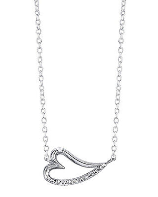 Diamond Small Heart Necklace - Lovely Small Sideways Heart Necklace With One Diamond in 925 Sterling silver
