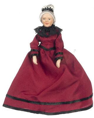 Dollhouse Miniature Doll Grandma Grandmother Burgundy  Porcelain   1:12 Scale