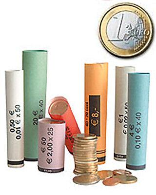 300 Papier-Münzhülsen gerollt für 1 Euro Münzen Münzrollpapier Münzpapier