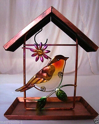HANGING BIRD FEEDER,METAL & STAINED GLASS,SPARROW WITH FLOWER,COPPER FINISH,NEW