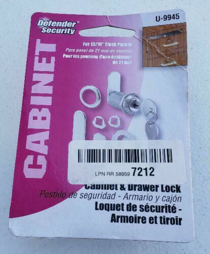 """Defender Security U9945 Cabinet Lock, 1 1/8"""" Diecast Stainless Steel, Fits most"""