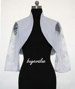 Satin Shrug White Ivory Lace Jacket Stole Bolero Wedding Evening Dress Custom