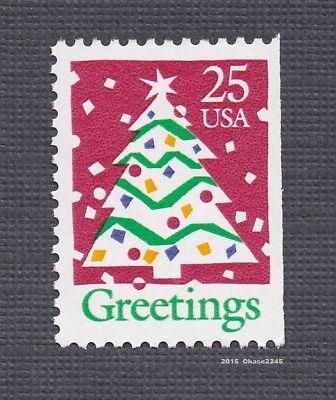 Scott #2516 Christmas Greetings / Tree 25c (Booklet Single)1990 Mint NH Single   ()