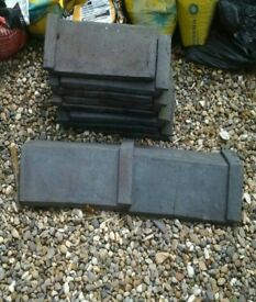 10 Staffordshire blue / black ridge tiles, reclaimed, good condition