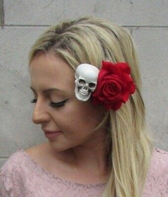 Day of the Dead Red Rose Sugar Skull Flower Hair Clip Fascinator Halloween 6050](Day Of The Dead Hair Flowers)