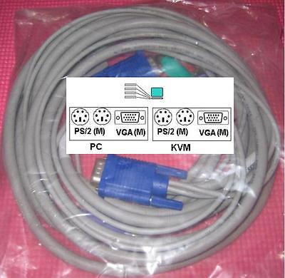 Avocent Cybex Dell Hp Compaq Apex 6ft 00g625 0g625 Ps2 Vga Kvm Switch Cable