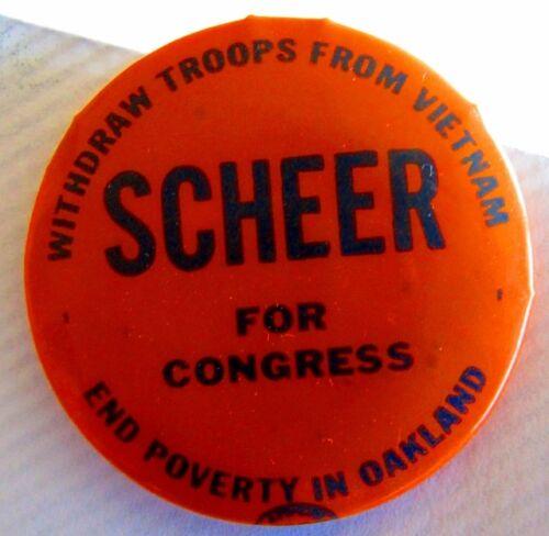Vintage Anti War Protest Peace Pin Pinback Scheer 4 Congress Vietnam Withdraw 66