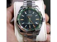 rolex milgauss black face with rolex wave box papers and cards