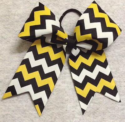 Black Gold, and White Chevron Cheer/SoftballVolleyball Bow
