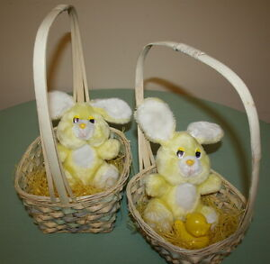 2 Matching Easter Bunnies in Matching Baskets $3.00