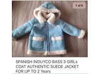 GIRLS AUTHENTIC SUEDE COAT JACKET UP TO 2 Years SPANISH LIKE NEW