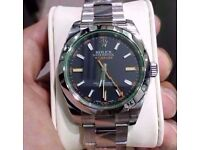 rolex milgauss black face sapphire glass waterproof rolex boxed with papers cards