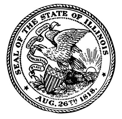 Great Seal For The State Of Illinois Round Shiny Hand Held Embosser