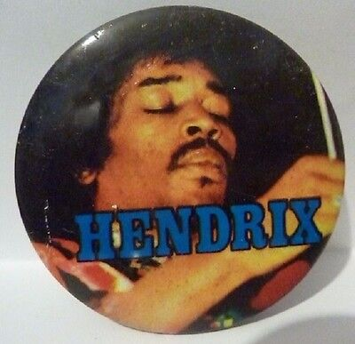 "Vintage 1970's - 1980's ""JIMI HENDRIX"" Button Badge 2 ½ """