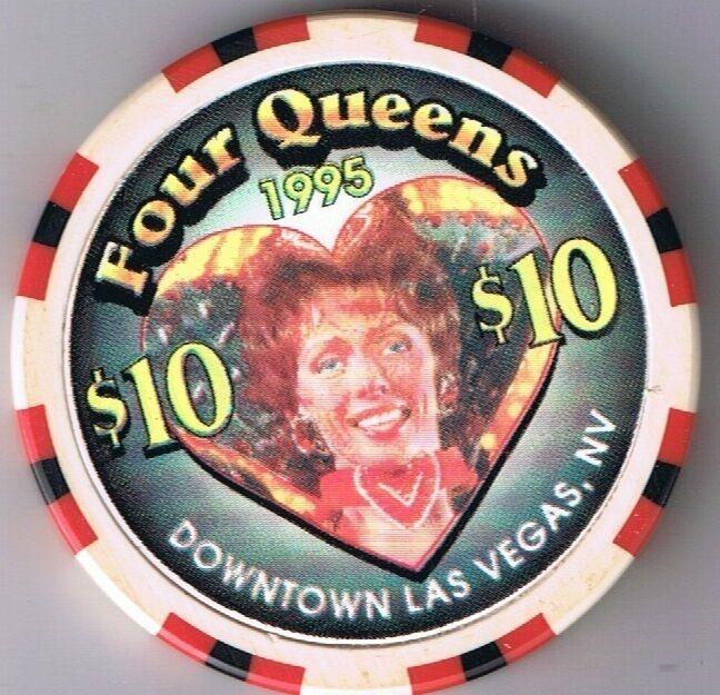 Four Queens Hotel $10.00 Showgirl Heart BJones Casino Chip Las Vegas, Nevada