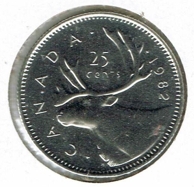 1982 Canada proof Like Caribou 25C Quarter Coin!