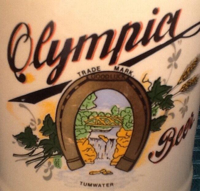 Vintage GERZ W Germany Beer Mug Stein Ceramic Pottery OLYMPIA Advertising 1/2 L
