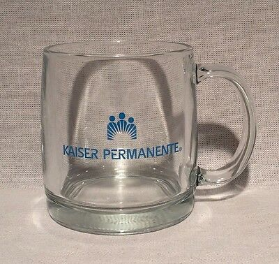 Kaiser Permanente Clear Glass Mug W Blue Lettering   16180