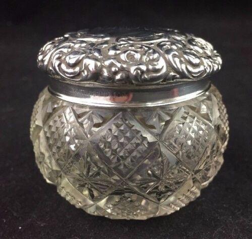 Antique Crystal Dresser Jar w/ Unger Brothers Sterling Lid PASSAIC circa 1900