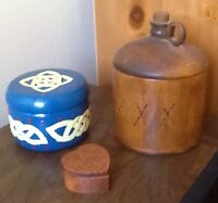 3 WOODEN JARS MADE LOCALLY.  Also VINTAGE TINS