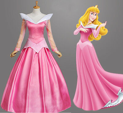 Dornröschen Sleeping Beauty Aurora Disney Cosplay Kostüm Abend-kleid lang long