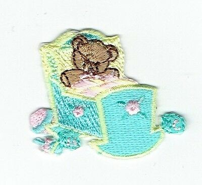 Iron-On Applique Embroidered Patch - Teddy Bear Baby Doll Cradle for sale  Shipping to India