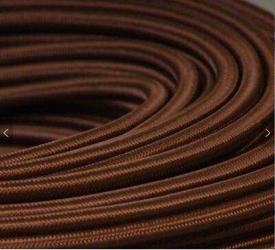 - Dk Brown Cotton Cloth Cover  2-Wire Round Cord 18ga Vintage industrial steampunk