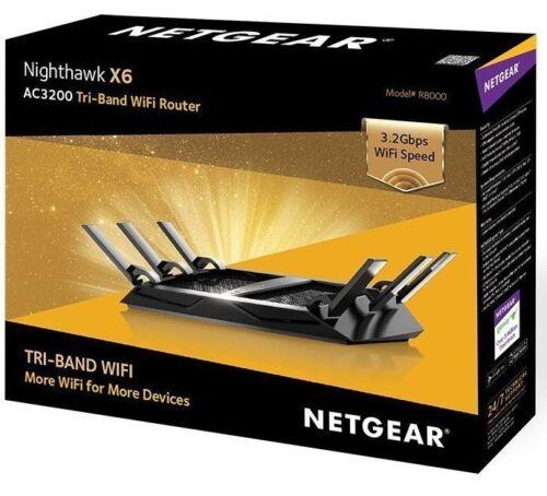 NETGEAR Nighthawk X6 AC3200 Tri-Band Wi-Fi Router Black R8000-100NAS