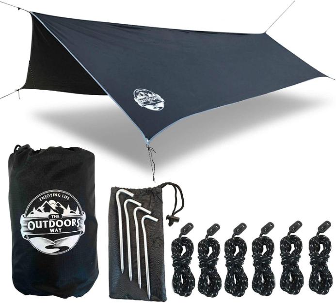 Waterproof Camping Tent Tarp Rain Fly Shelter Hammock Cover Rainfly 81x81cm