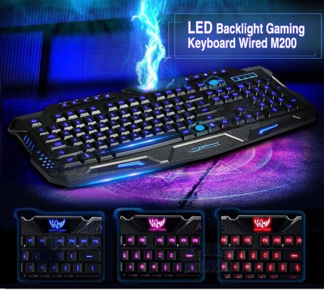 3 Colors Switchable LED Backlit Backlight Illuminated USB Wired Gaming Keyboard