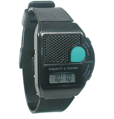 Square Iii Talking Wrist Watch - English - Large Green Push Button To Talk