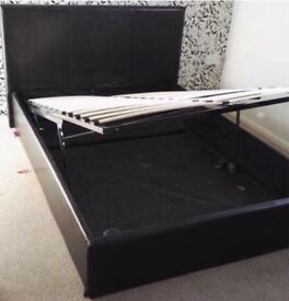 Ottoman leather double bed with mattress