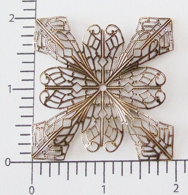 25153        Brass Oxidized Victorian Square Filigree Jewelry Finding