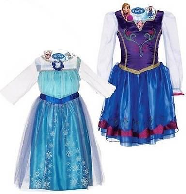 NWT Disney movie Frozen Anna & Elsa Dress Up Costumes 4 5 6 6X Lot of 2 dresses