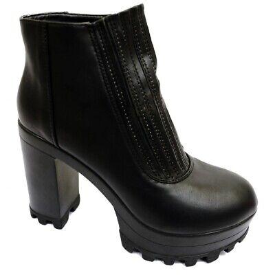 Ladies Teens Black Leather Look Pull-On High Heel Chelsea Ankle Boots UK 3 - 7 ()