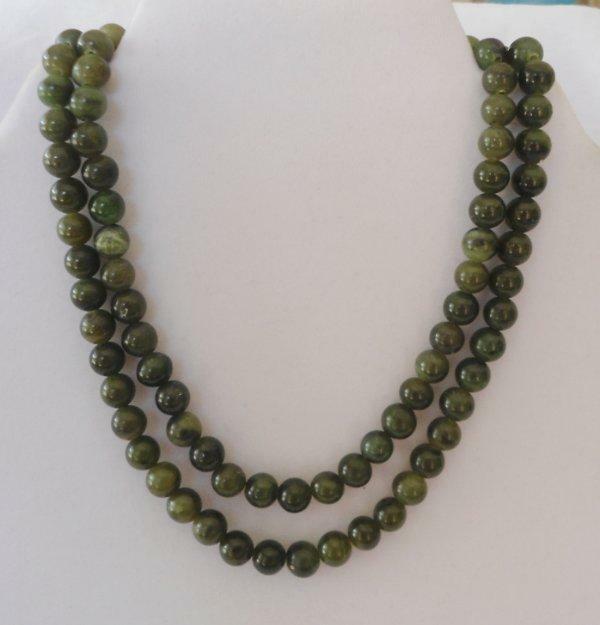 "Long Vintage Dark Green Jade Bead Necklace 30"""