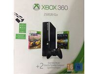 250Gb Xbox 360 with 2 controllers and 8 games
