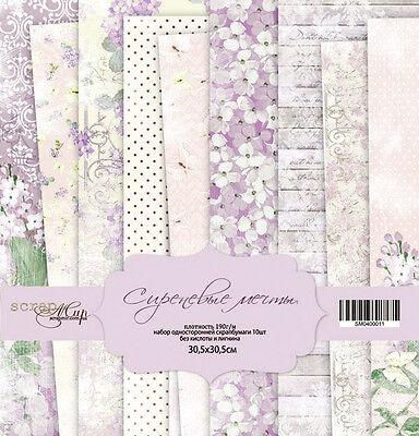 Scrapbooking Papier Set, lila Träume , 30x 30 cm, 10 Blätter