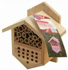 HANGING WOODEN INSECT & BEE HOTEL HOUSE BOX NEST BUG LADYBIRD GARDEN BEE KEEPING