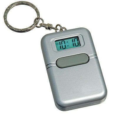 Key Chain Silver Talking Alarm Sounds Clock Touch Single Button silence New Batt