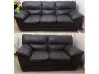 very good condition dark Brown leather 3+2 seater sofas