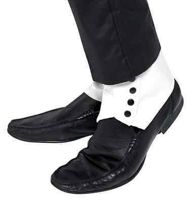 1920S ROARING 20'S WHITE SPATS GANGSTER DANCE COSTUME SPATS W/ BLACK BUTTONS](Roaring Twenties Costumes For Men)