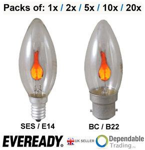 Edison Light Bulbs Home Depot EVEREADY 3W Clear Flicker Flame Candle bulbs SES E14 Screw ...