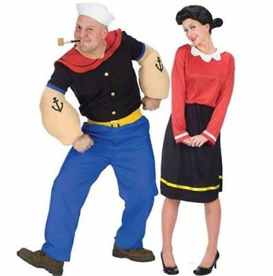 Couples Popeye and Olive Oyl Adult Costumes Husband Wife Funny Halloween](Funny Halloween Couples Costumes)