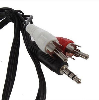 stereo mini plug jack to 2 rca stereo phono audio speaker cable male 1 8 ebay. Black Bedroom Furniture Sets. Home Design Ideas