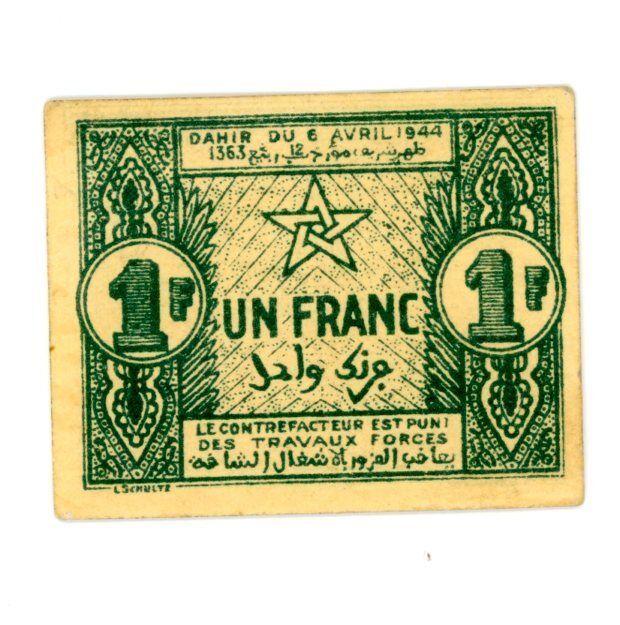 Morocco … P-42 … 1 Franc … 1944 … *UNC*